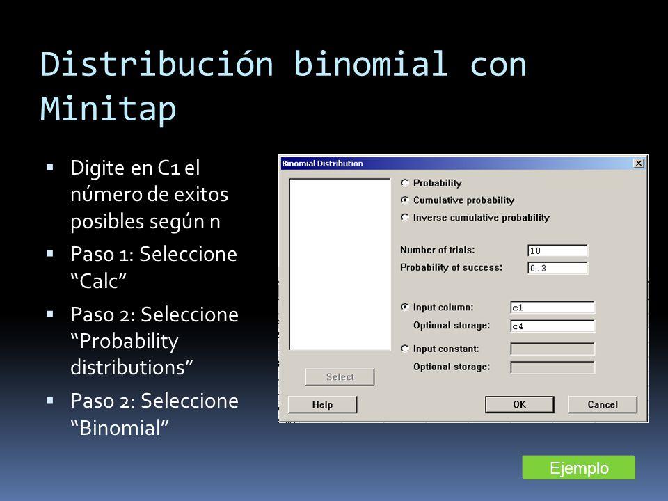 Distribución binomial con Minitap