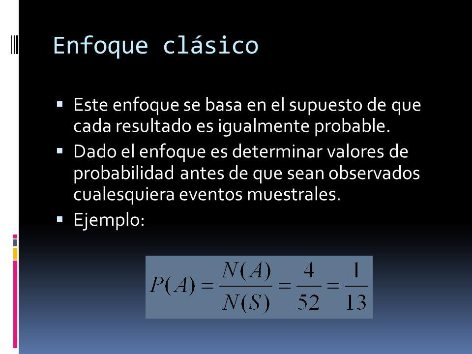 Enfoque clásico Este enfoque se basa en el supuesto de que cada resultado es igualmente probable.