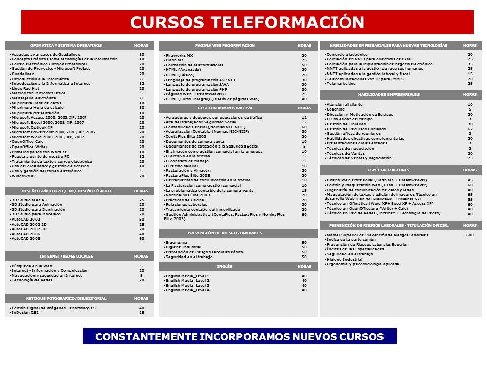 CURSOS TELEFORMACIÓN CONSTANTEMENTE INCORPORAMOS NUEVOS CURSOS