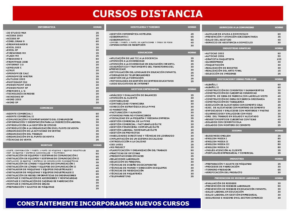 CURSOS DISTANCIA CONSTANTEMENTE INCORPORAMOS NUEVOS CURSOS INFORMATICA