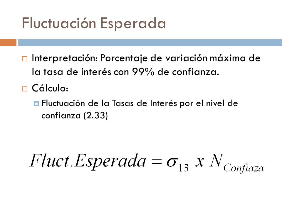 Fluctuación Esperada Interpretación: Porcentaje de variación máxima de la tasa de interés con 99% de confianza.
