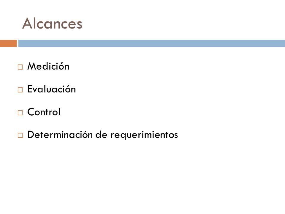Alcances Medición Evaluación Control Determinación de requerimientos