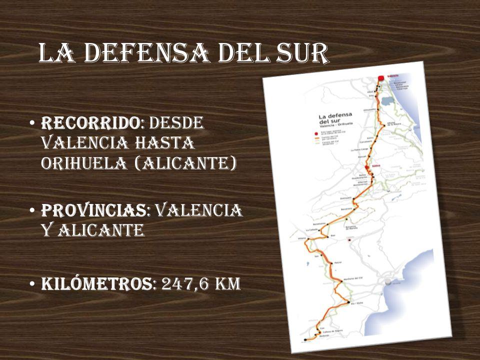 La defensa del sur Recorrido: desde Valencia hasta Orihuela (Alicante)
