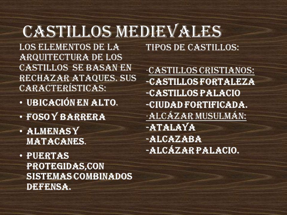 CASTILLOS MEDIEVALES Los elementos de la arquitectura de los castillos se basan en rechazar ataques. Sus características: