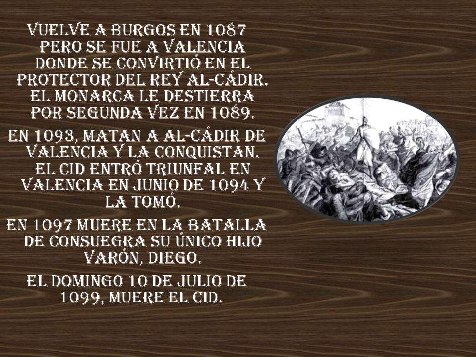 En 1097 muere en la batalla de Consuegra su único hijo varón, Diego.