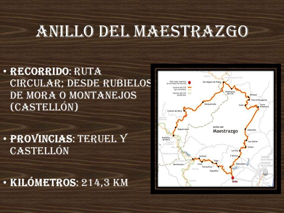 Anillo deL maestraZgo Recorrido: ruta circular; desde Rubielos de Mora o Montanejos (Castellón) Provincias: Teruel y Castellón.
