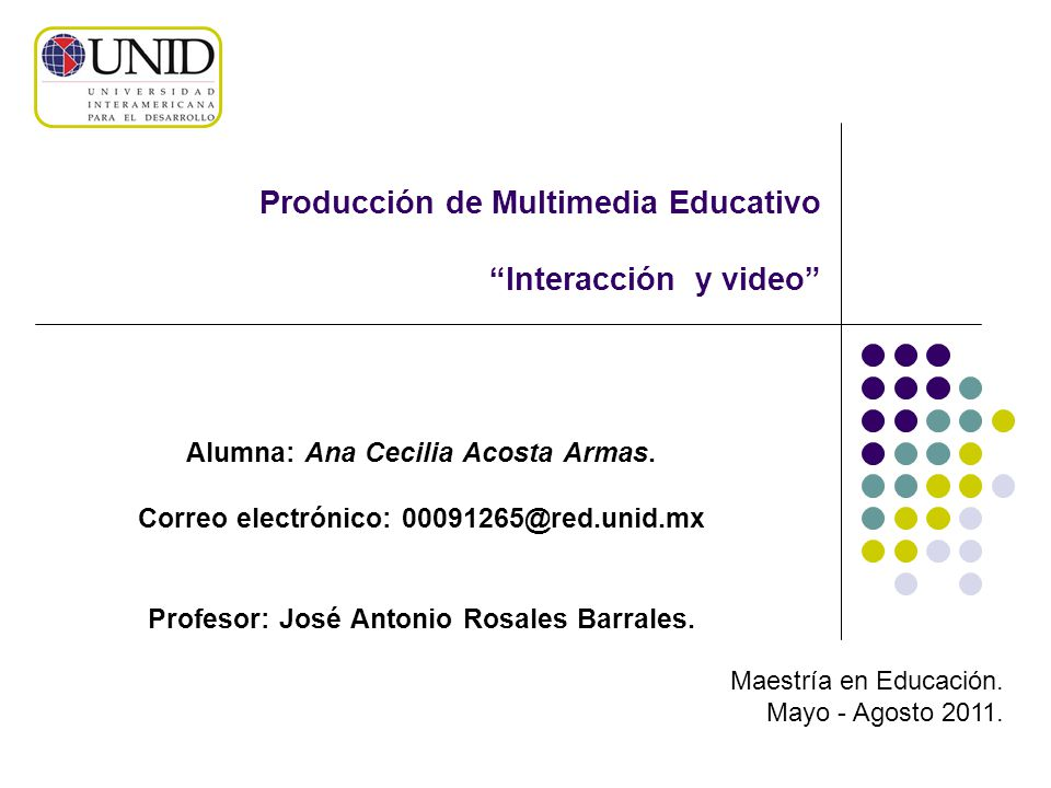 Producción de Multimedia Educativo Interacción y video