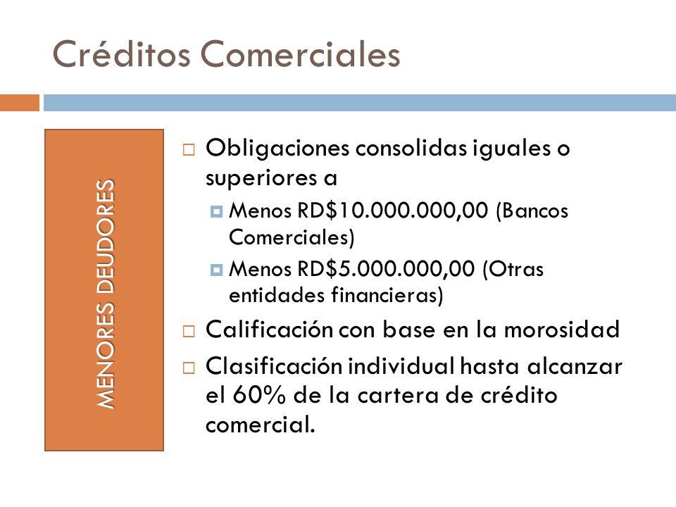 Créditos Comerciales Obligaciones consolidas iguales o superiores a