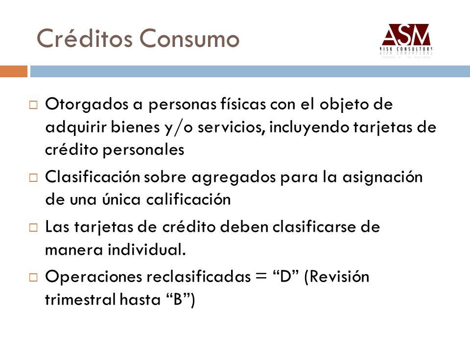 Créditos Consumo Otorgados a personas físicas con el objeto de adquirir bienes y/o servicios, incluyendo tarjetas de crédito personales.