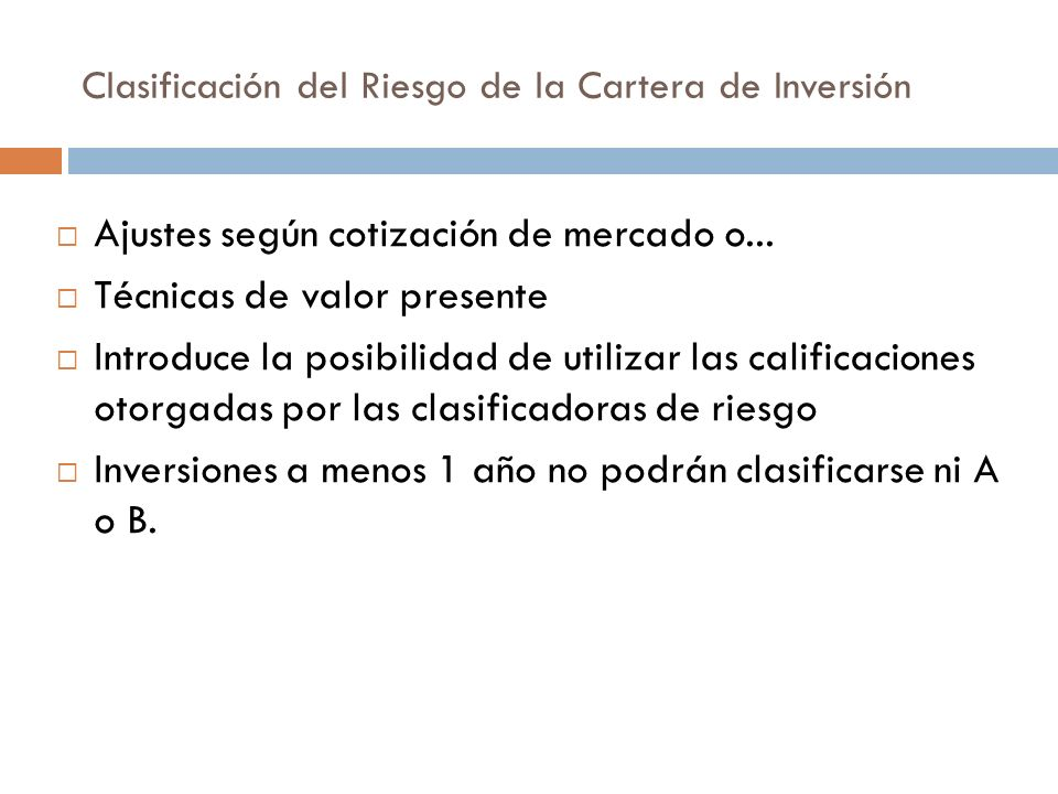 Clasificación del Riesgo de la Cartera de Inversión