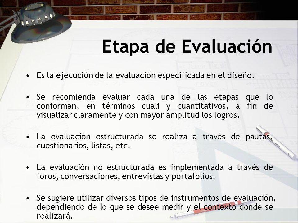 Etapa de Evaluación Es la ejecución de la evaluación especificada en el diseño.