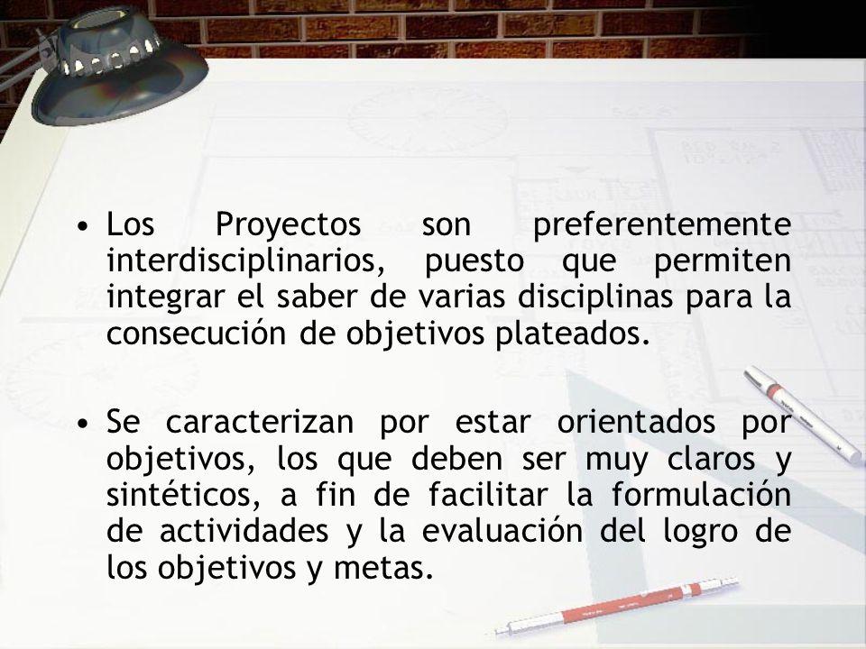 Los Proyectos son preferentemente interdisciplinarios, puesto que permiten integrar el saber de varias disciplinas para la consecución de objetivos plateados.