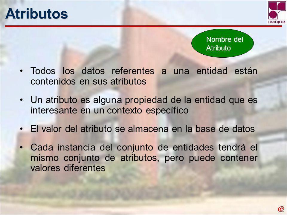 Atributos Nombre del Atributo. Todos los datos referentes a una entidad están contenidos en sus atributos.