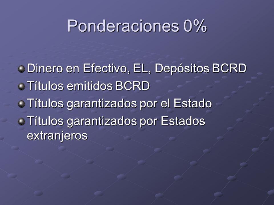 Ponderaciones 0% Dinero en Efectivo, EL, Depósitos BCRD