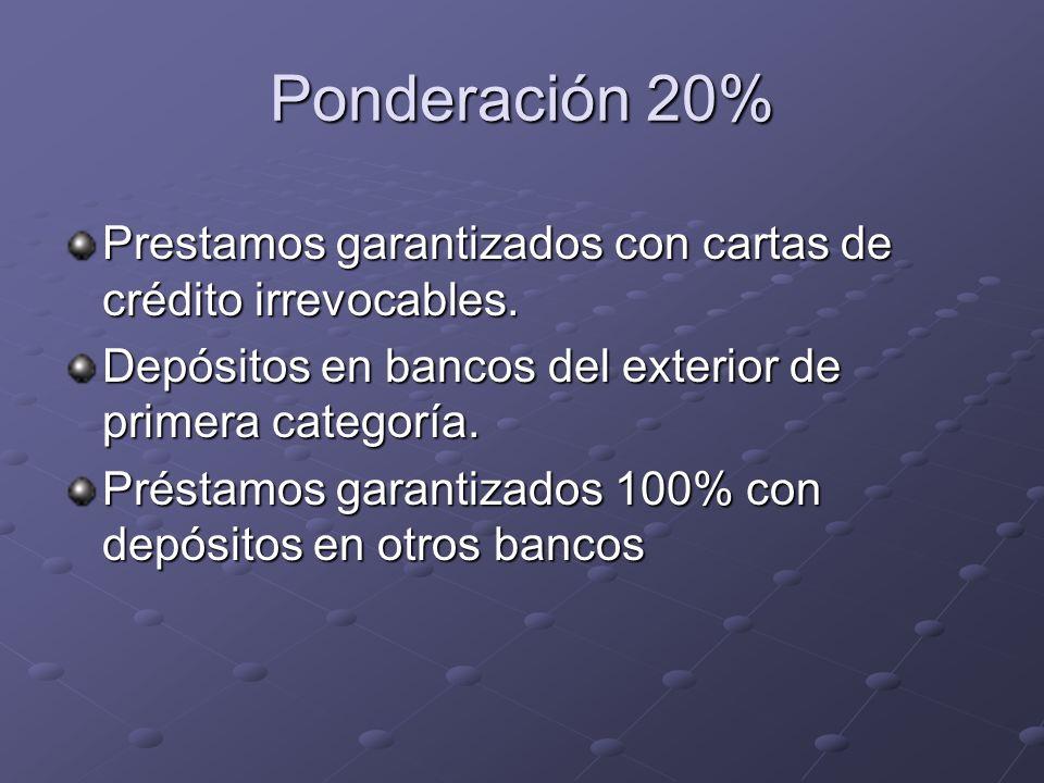 Ponderación 20% Prestamos garantizados con cartas de crédito irrevocables. Depósitos en bancos del exterior de primera categoría.