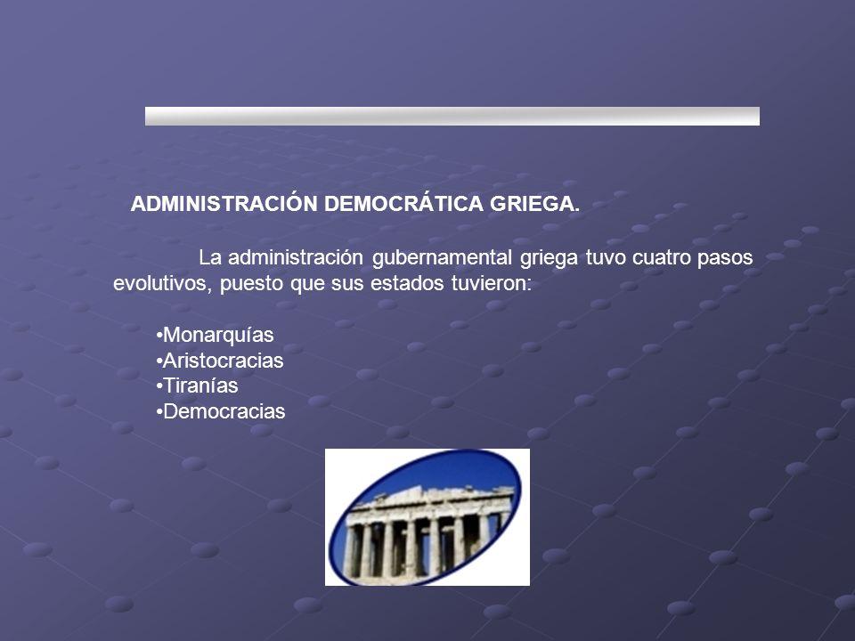 ADMINISTRACIÓN DEMOCRÁTICA GRIEGA.