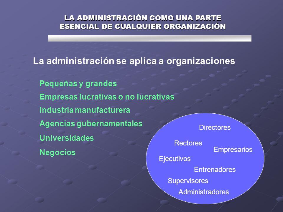 LA ADMINISTRACIÓN COMO UNA PARTE ESENCIAL DE CUALQUIER ORGANIZACIÓN