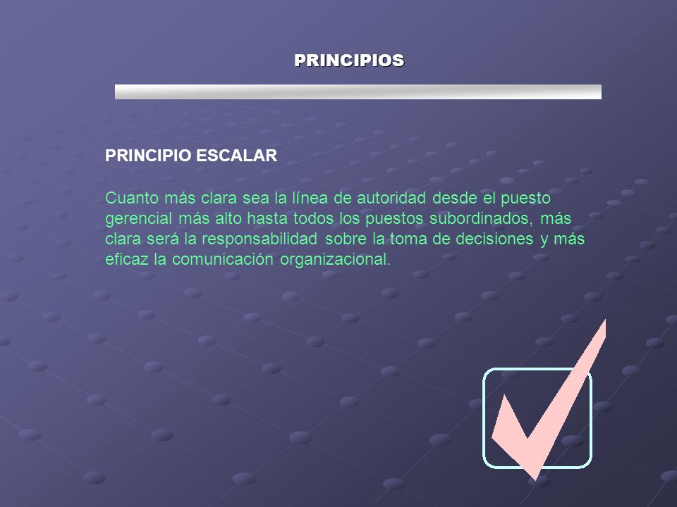 PRINCIPIOS PRINCIPIO ESCALAR.