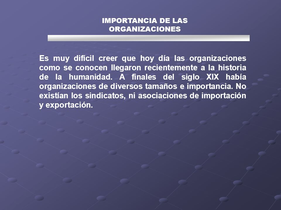IMPORTANCIA DE LAS ORGANIZACIONES