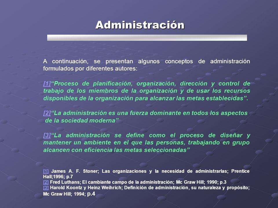 Administración A continuación, se presentan algunos conceptos de administración formulados por diferentes autores: