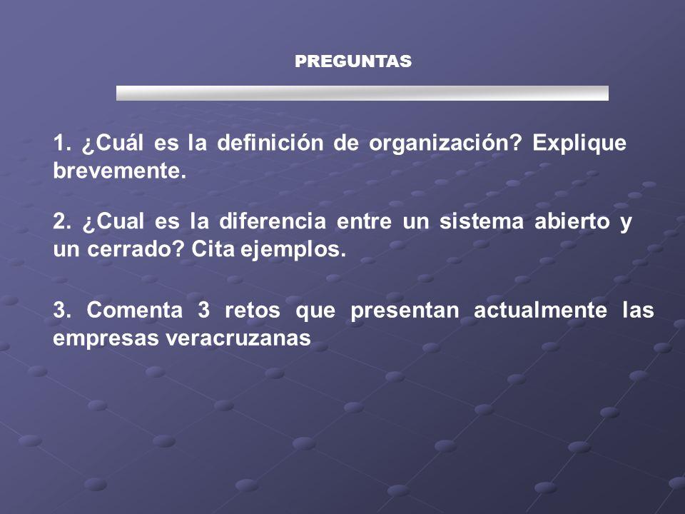 1. ¿Cuál es la definición de organización Explique brevemente.
