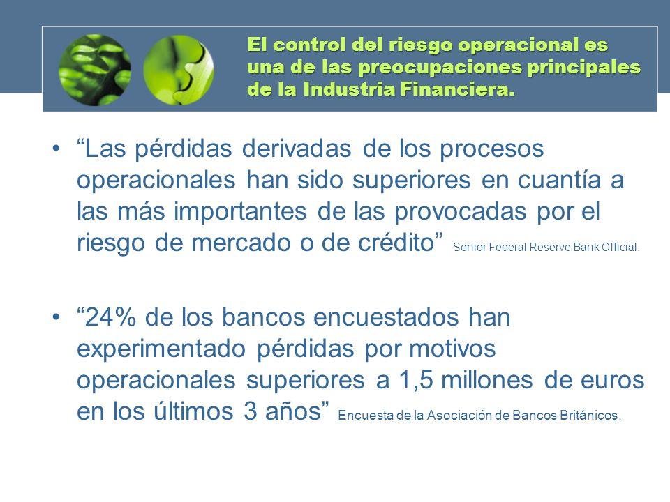 El control del riesgo operacional es una de las preocupaciones principales de la Industria Financiera.