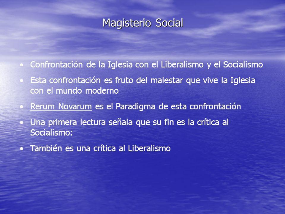 Magisterio Social Confrontación de la Iglesia con el Liberalismo y el Socialismo.