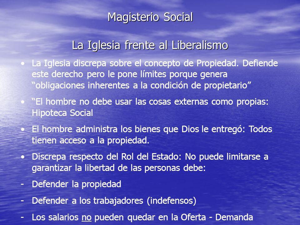 Magisterio Social La Iglesia frente al Liberalismo