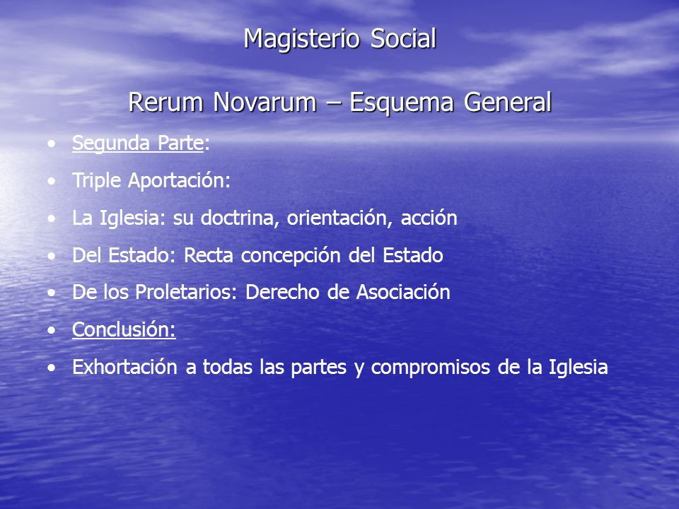 Magisterio Social Rerum Novarum – Esquema General