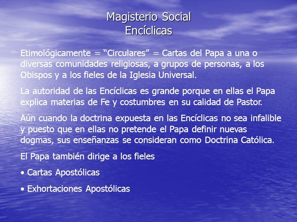 Magisterio Social Encíclicas