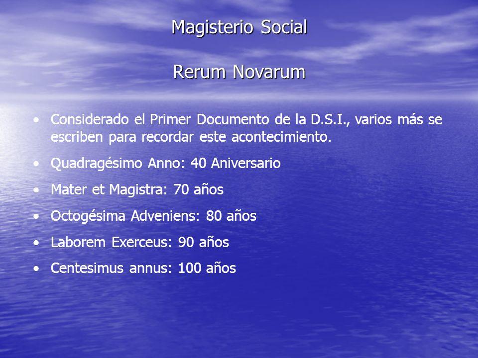 Magisterio Social Rerum Novarum