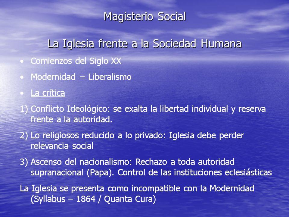 Magisterio Social La Iglesia frente a la Sociedad Humana