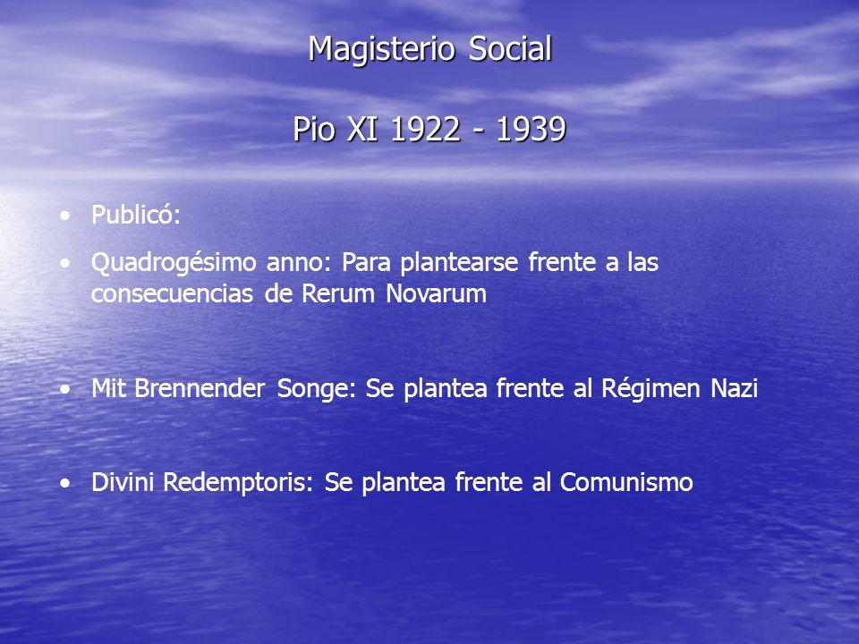 Magisterio Social Pio XI 1922 - 1939