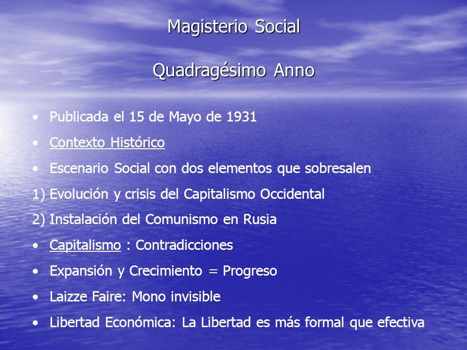 Magisterio Social Quadragésimo Anno