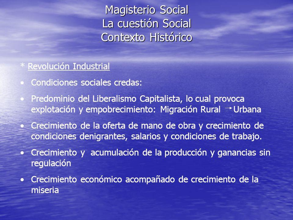 Magisterio Social La cuestión Social Contexto Histórico