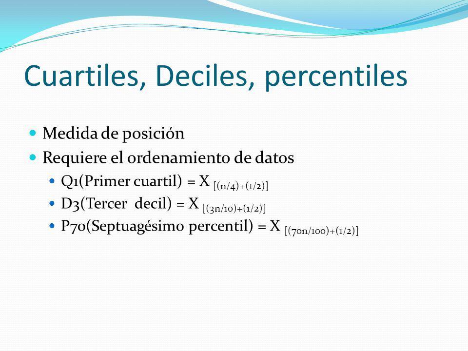 Cuartiles, Deciles, percentiles