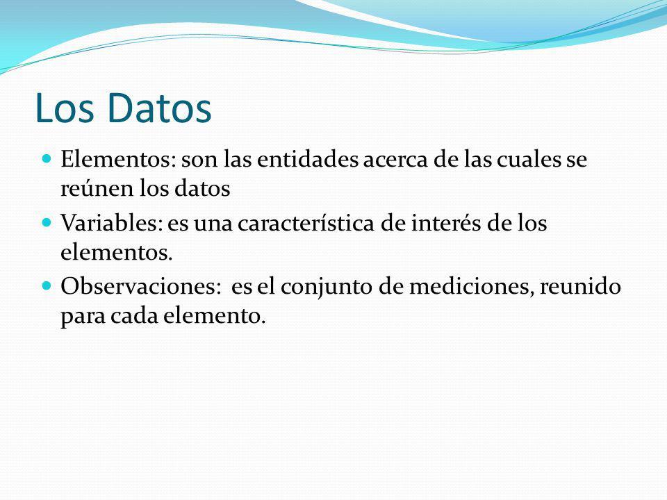 Los Datos Elementos: son las entidades acerca de las cuales se reúnen los datos. Variables: es una característica de interés de los elementos.
