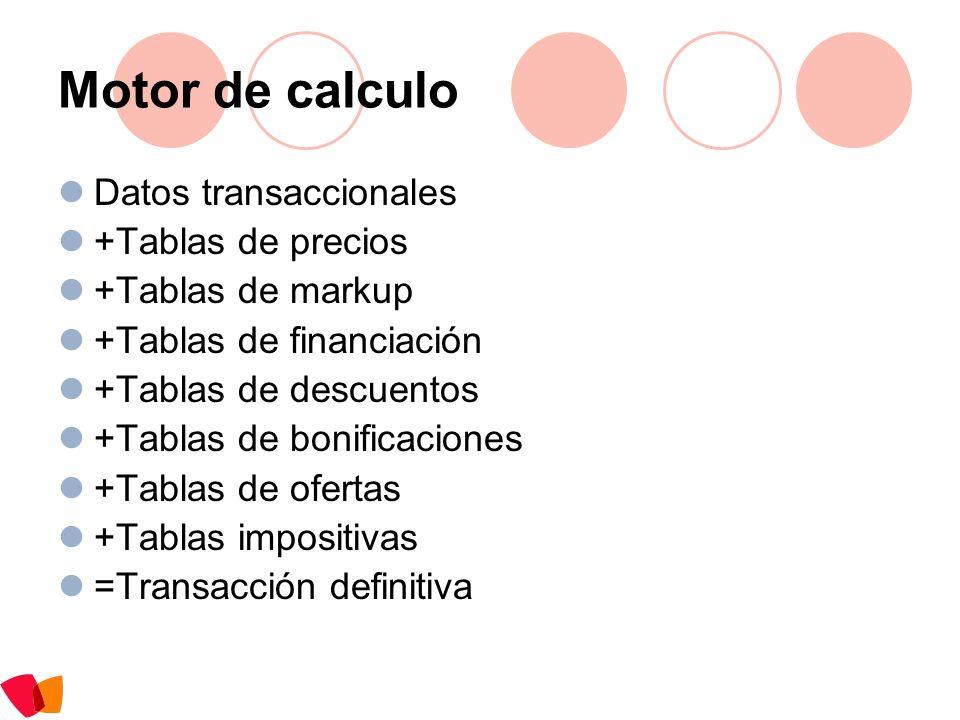 Motor de calculo Datos transaccionales +Tablas de precios