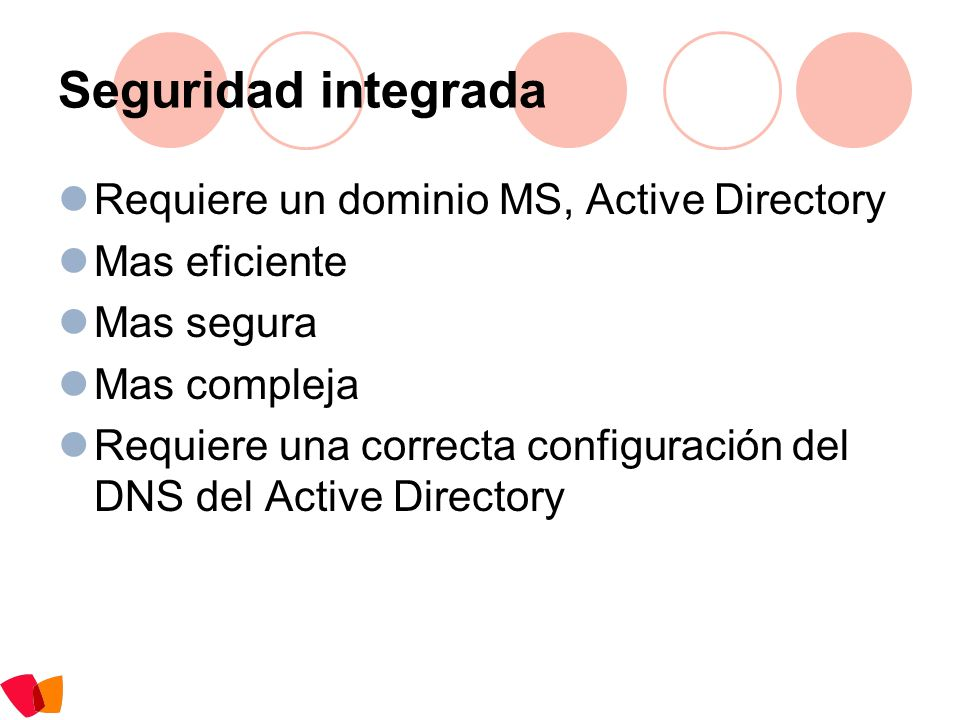 Seguridad integrada Requiere un dominio MS, Active Directory