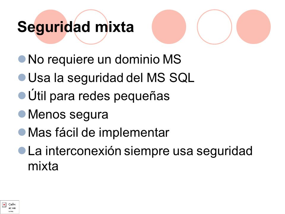 Seguridad mixta No requiere un dominio MS Usa la seguridad del MS SQL