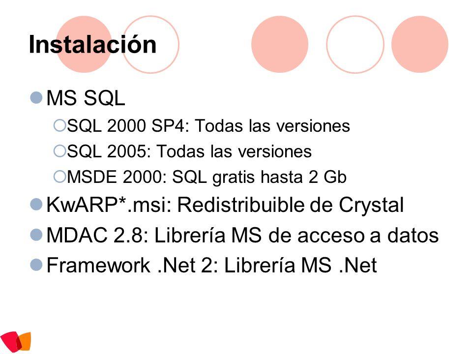 Instalación MS SQL KwARP*.msi: Redistribuible de Crystal