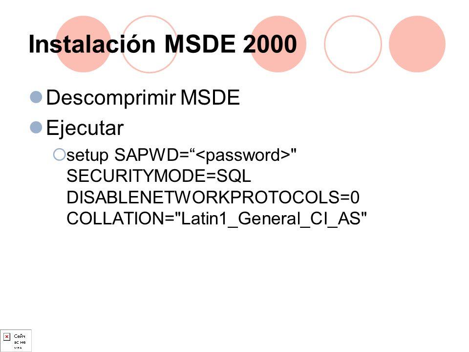 Instalación MSDE 2000 Descomprimir MSDE Ejecutar