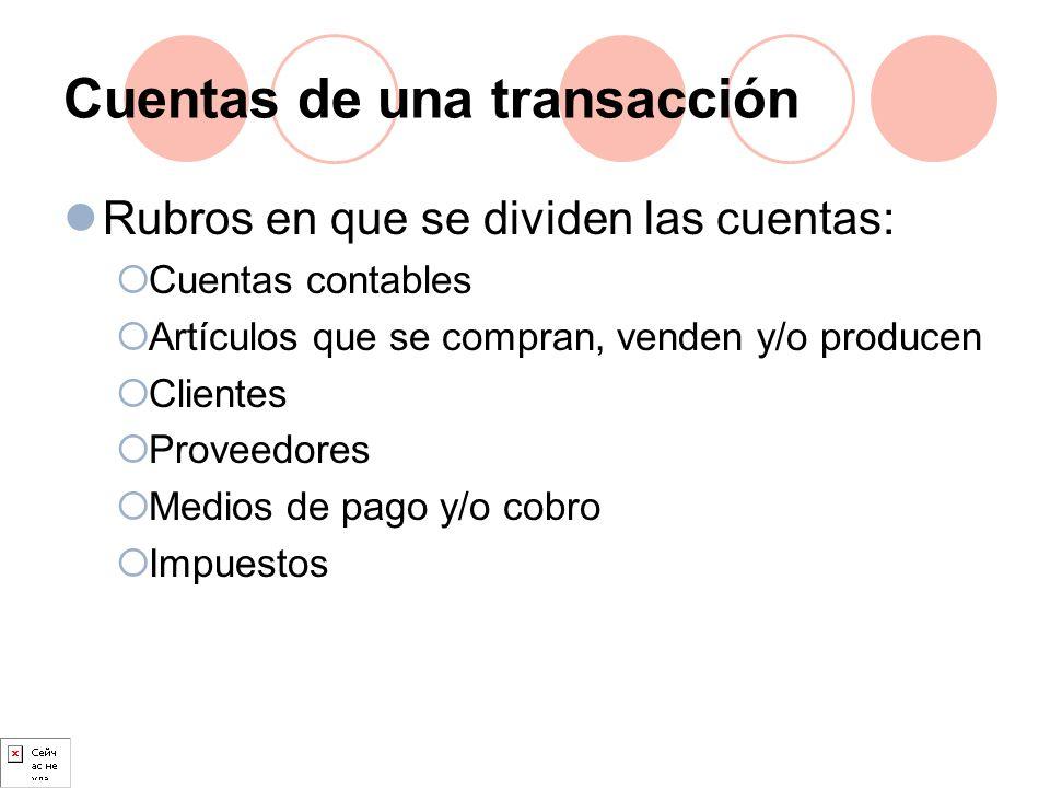 Cuentas de una transacción