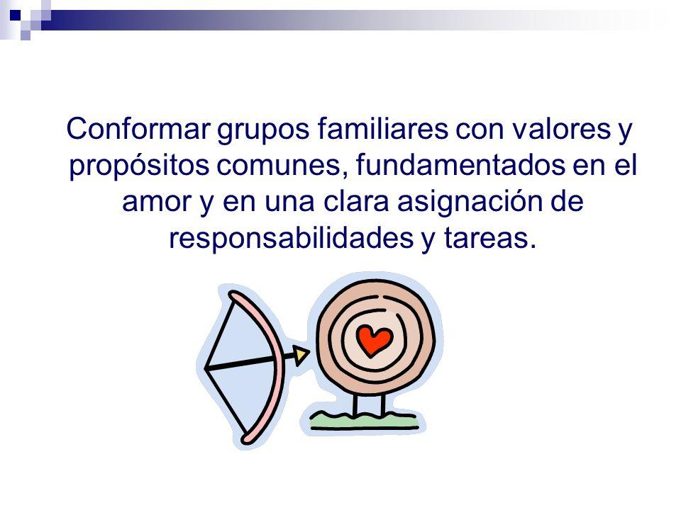 Conformar grupos familiares con valores y propósitos comunes, fundamentados en el amor y en una clara asignación de responsabilidades y tareas.