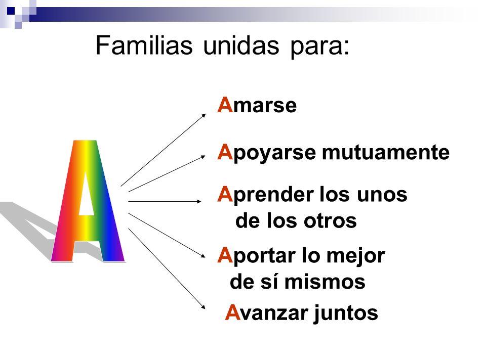 Familias unidas para: A Amarse Apoyarse mutuamente Aprender los unos