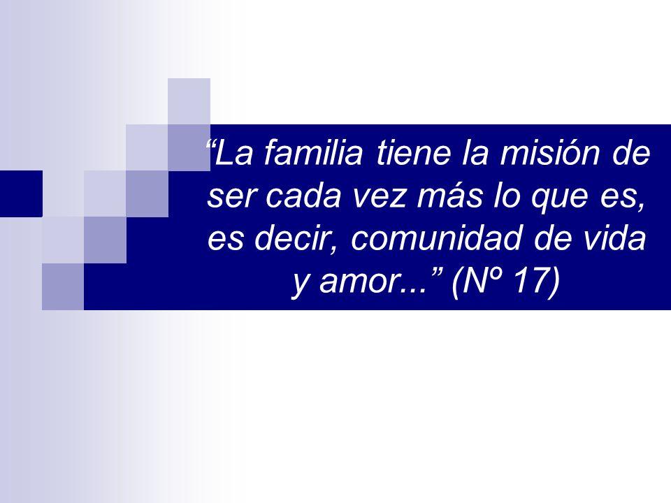 La familia tiene la misión de ser cada vez más lo que es, es decir, comunidad de vida y amor... (Nº 17)