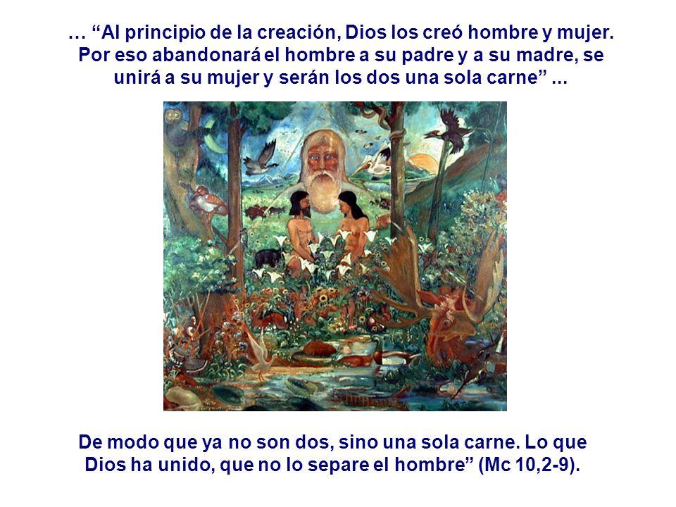 … Al principio de la creación, Dios los creó hombre y mujer