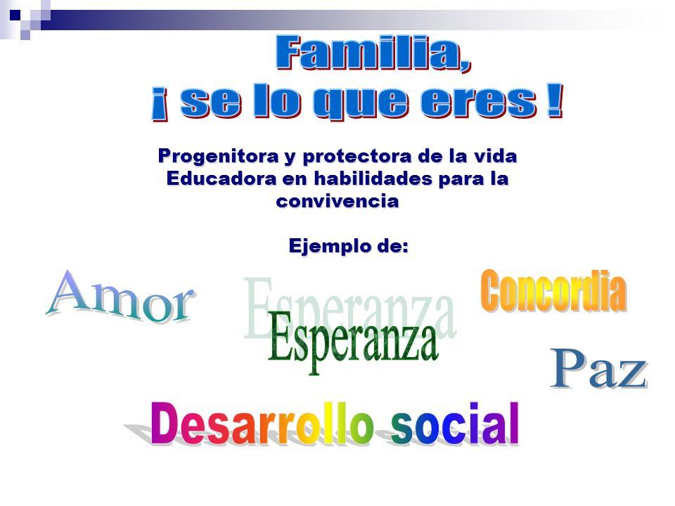 Familia, ¡ se lo que eres ! Amor Concordia Esperanza Paz