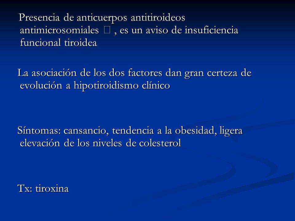 Presencia de anticuerpos antitiroideos antimicrosomiales  , es un aviso de insuficiencia funcional tiroidea
