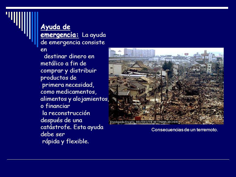 Ayuda de emergencia: La ayuda de emergencia consiste en